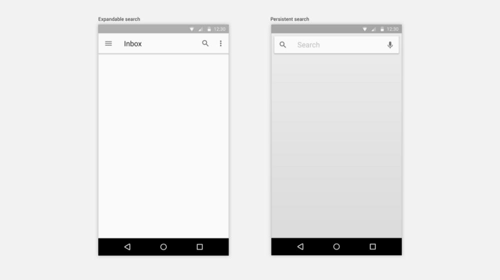 圖左,為 Expandable Search;圖右,為 Persistent Search(From: Android by outline)