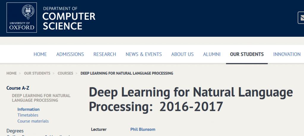 美國牛津大學開放 2014-2015 年的機器學習,與 2016-2017 年的用於處理自然語言的深度學習課程。截圖來源:美國牛津大學電腦科學系官方網站。