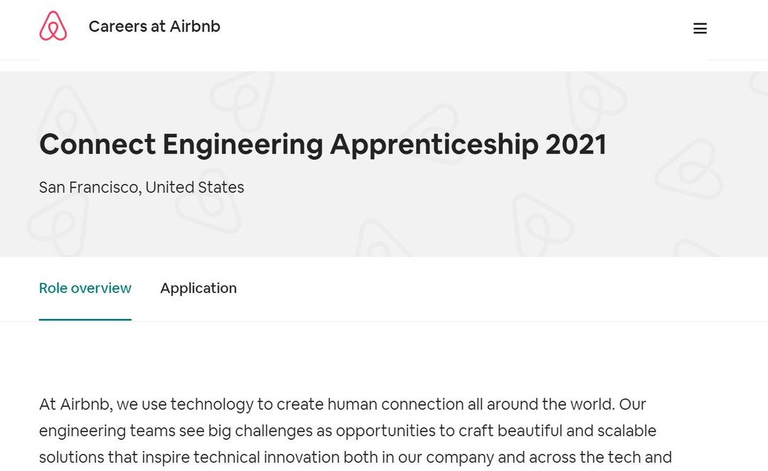 Airbnb Connect Engineering Apprenticeship 2021